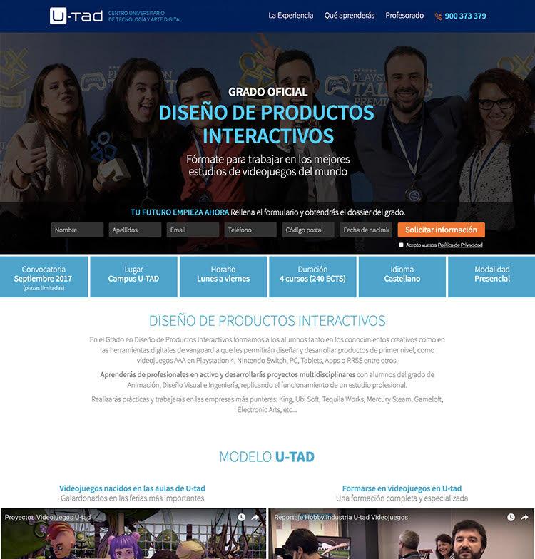 Landing page en campañas de captación